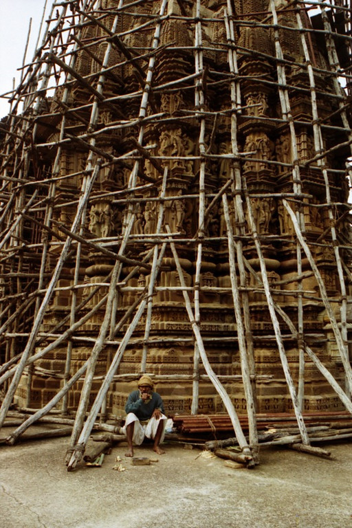 Break Time Under Scaffolding - Khajuraho, India