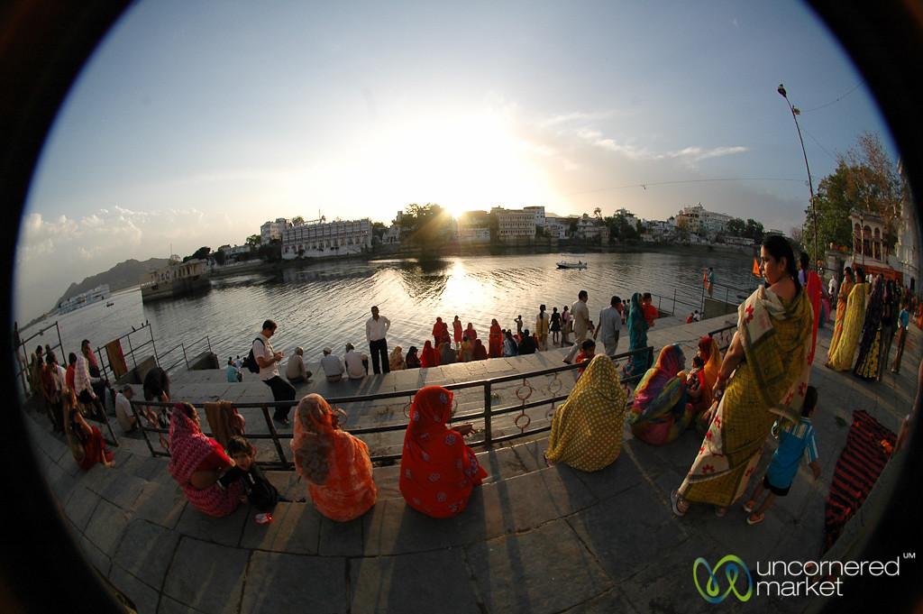 Evening Prayers (Puja) Along the Lake - Udaipur, India