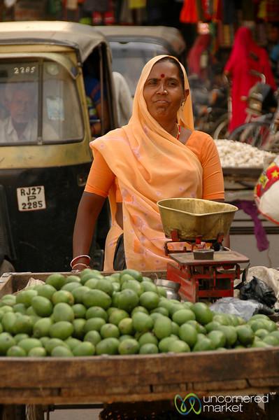 Pushing the Fruit Cart Through the Market - Udaipur, India