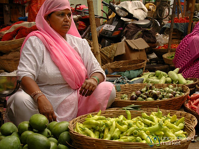 Baskets of Vegetables at the Market in Udaipur, India