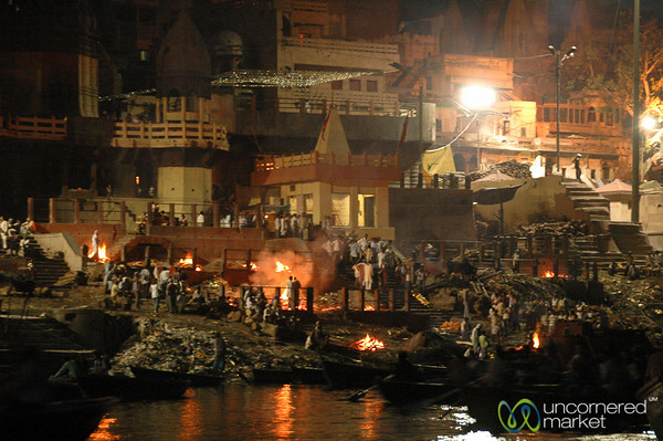 Nighttime at Manikarnika Ghat  - Varanasi, India
