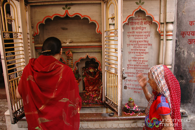 Performing Prayers (Puja) - Varanasi, India