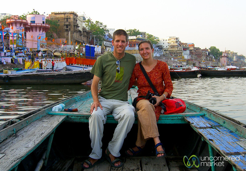 Audrey & Dan During a Dusk Boat Ride in Varanasi, India