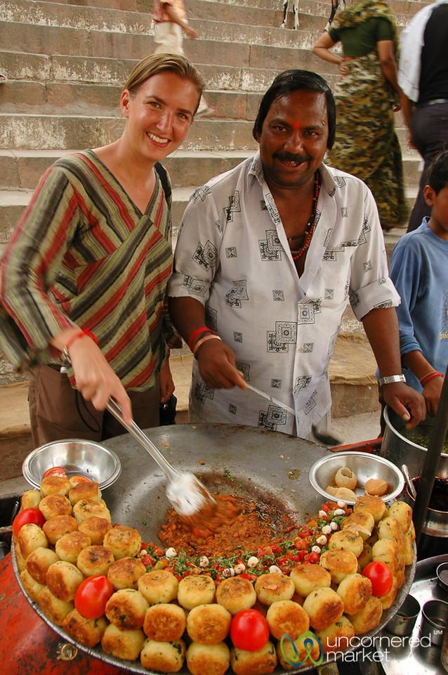 Cooking Aloo Tikki at a Ghat in Varanasi, India