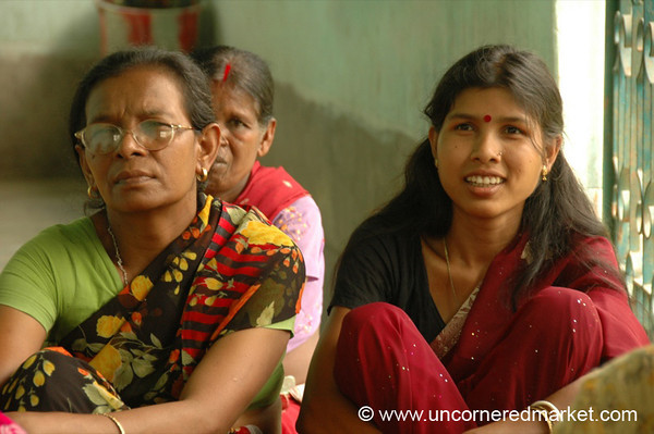 Indian Women Eagerly Listening, Microfinance - West Bengal, India