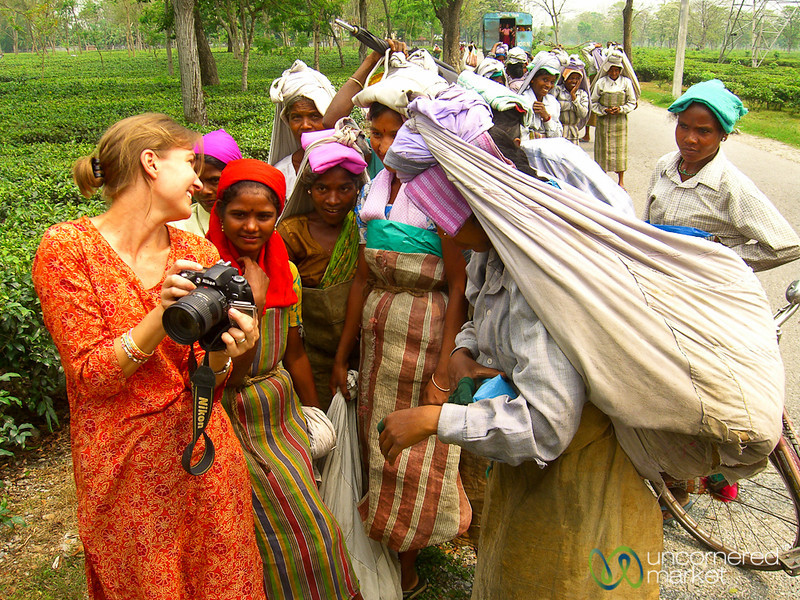 Audrey Shows Tea Pickers Their Image - West Bengal, India