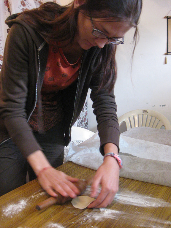 learning how to roll momo dumpling flour