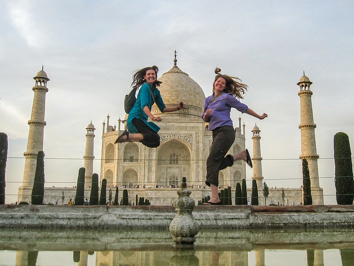 Jumping at the Taj Mahal on my RTW journey