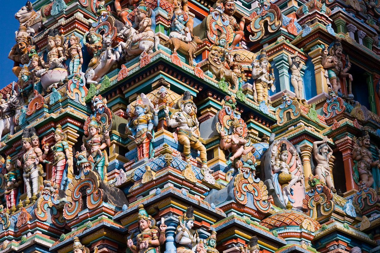 Detail of the remarkable 170 foot tall Hindu Meenakshi temple.<br /> <br /> Location: Madurai, India<br /> <br /> Lens used: 28-135mm f3.5-5.6 IS
