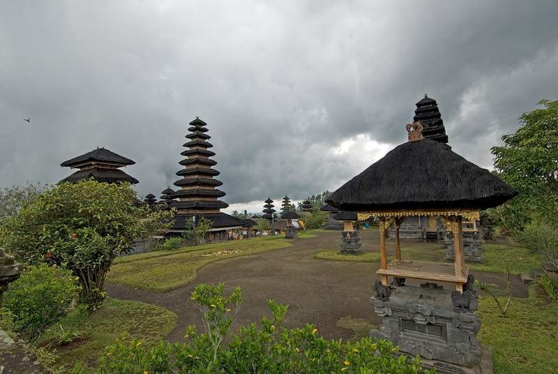 Pagoda and huts inside the Mother Temple of Besakih in Bali, Indonesia