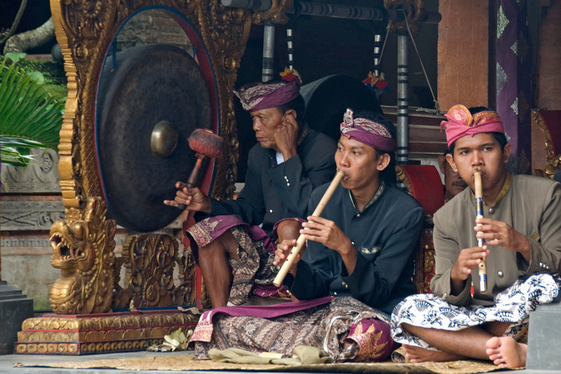 Musicians playing the flute at Barong Dance in Indonesia