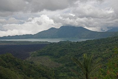 View of the lake and mountain from afar in Bali, Indonesia