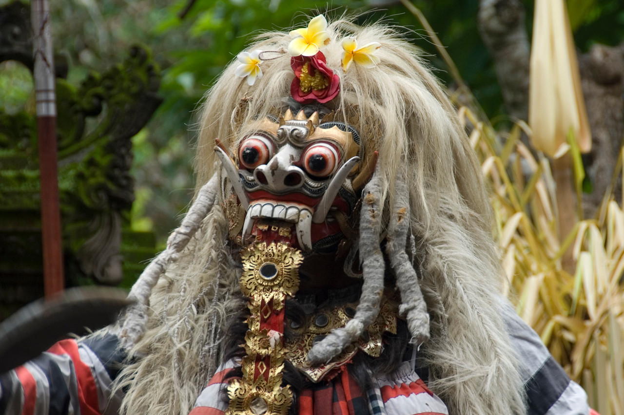 Scary close-up shot of Evil Barong Character in Bali