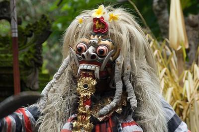 Scary close-up shot of Evil Barong Character in Bali