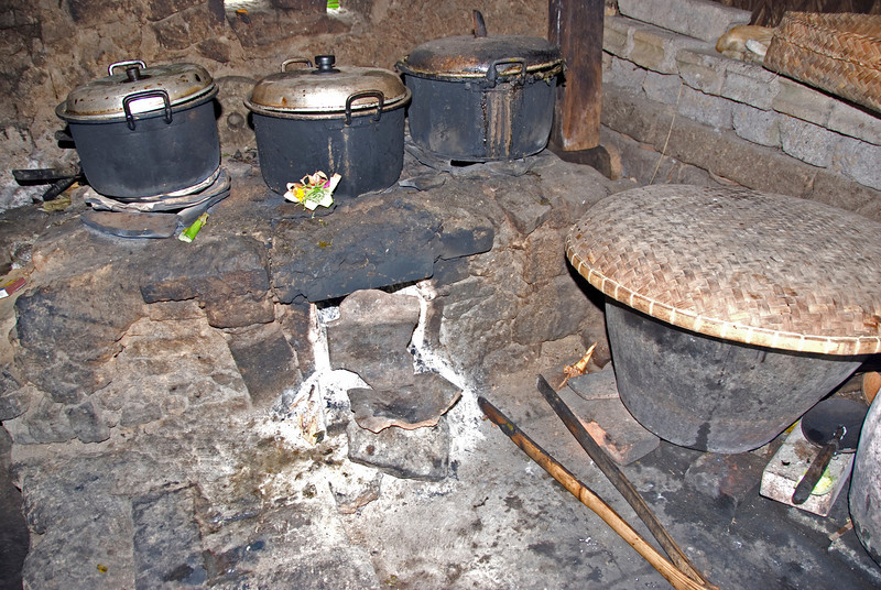 Close look inside a traditional Balinese kitchen in Indonesia