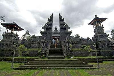 Landscape view of steps to Mother Temple of Besakih in Bali, Indonesia
