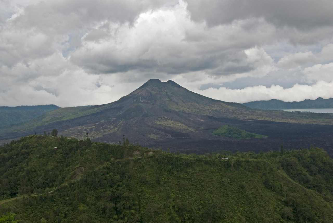Shot of perfectly shaped volcano in Bali, Indonesia