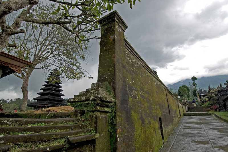 Moss covered wall inside the grounds of Mother Temple of Besakih in Bali