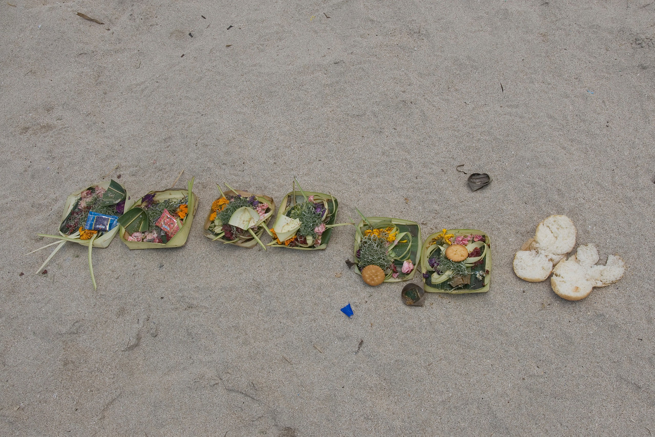 Offerings on the beach at Bali, Indonesia