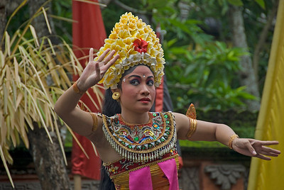 Barong Dancer with elaborate headdress performing in Bali, Indonesia