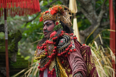 Colorful costume on Barong character at a performance in Bali, Indonesia