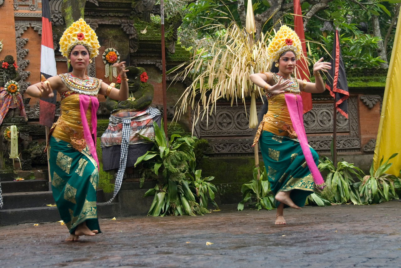 Two female Barong dancers performing in Bali, Indonesia