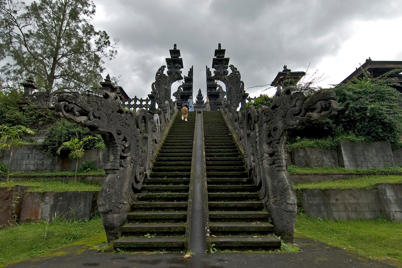 Mother Temple of Besakih shrine steps in Bali, Indonesia