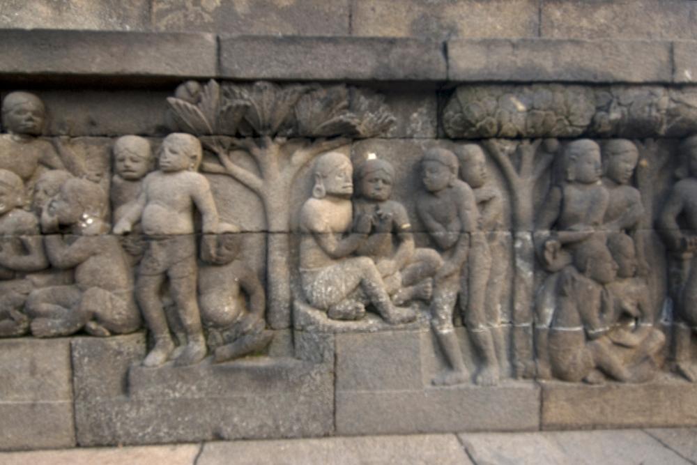 Bas relief at Borobudur Temple, Indonesia