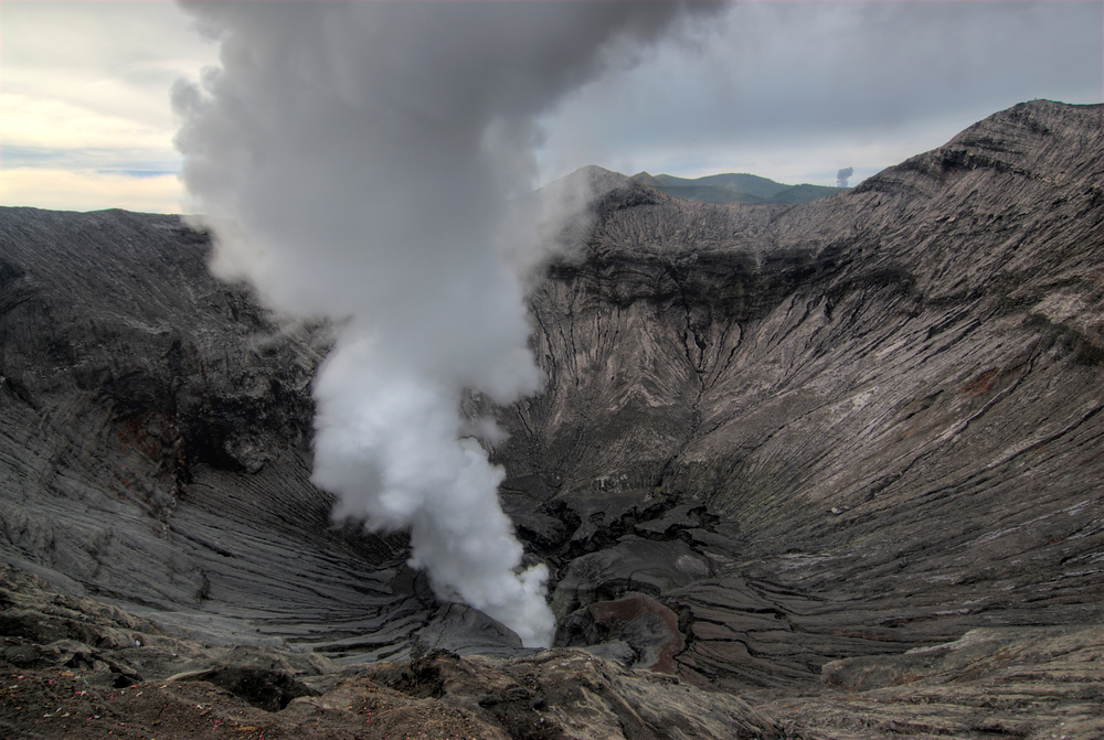 Steam coming from inside Mt. Bromo, Indonesia