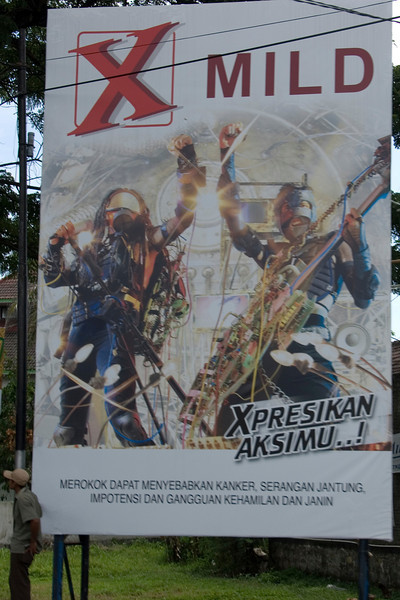 Cigarette ad in a street in Indonesia