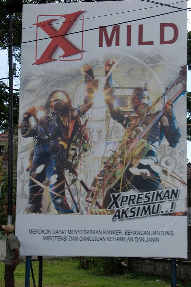 Cigarette ad in a street in Indonesia