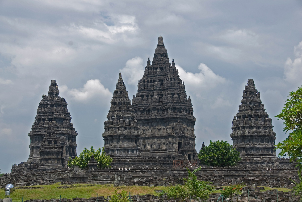 Facade shot of the towers at Prambanan in Java, Indonesia