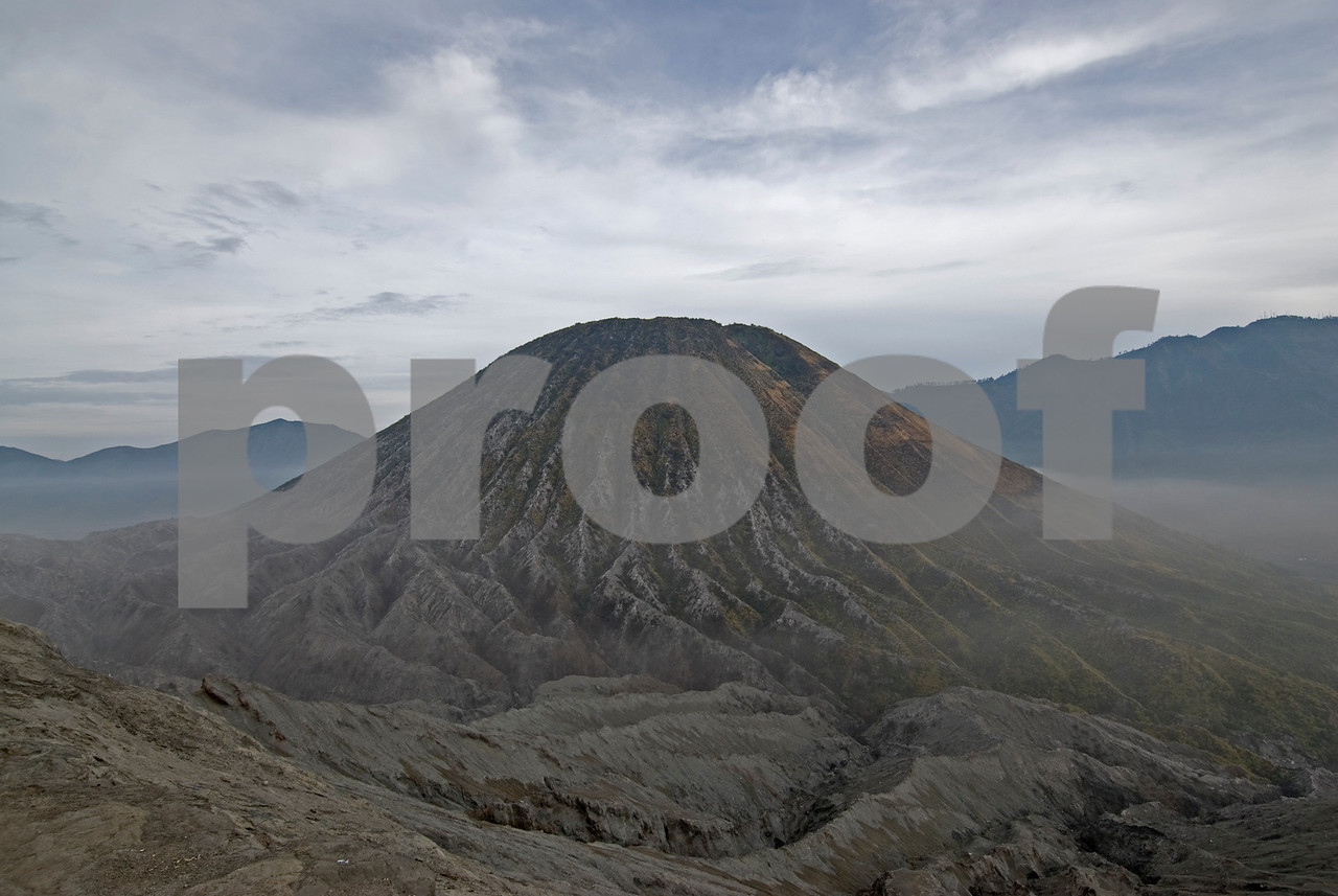 Isolated shot of Mount Bromo cone in Java, Indonesia