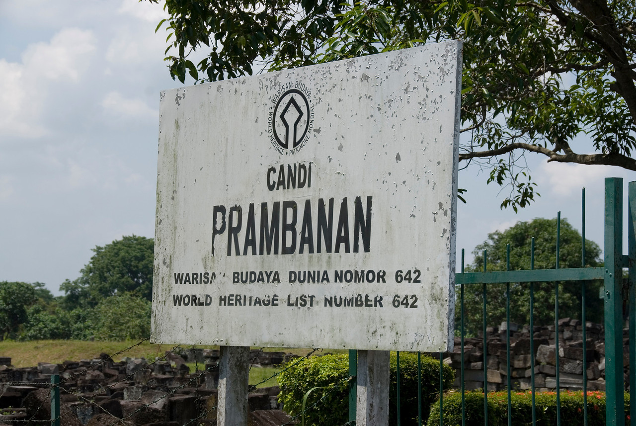 UNESCO World Heritage Site sign outside Prambanan in Java, Indonesia