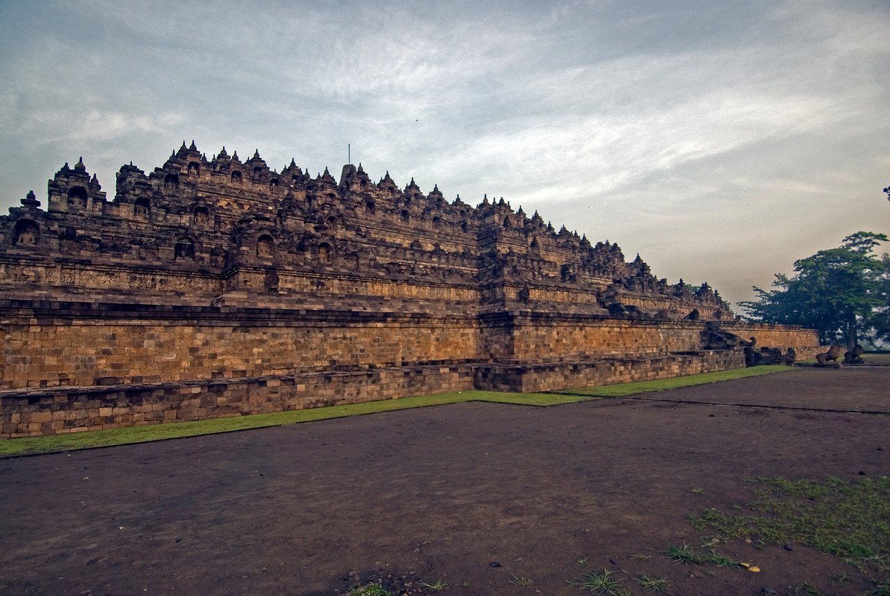 Borobudur at Sunrise in Java, Indonesia