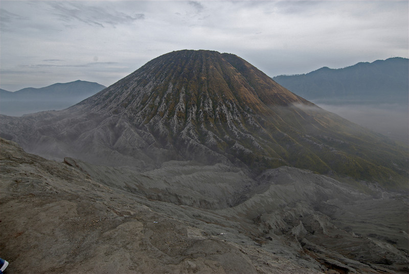 Closer shot of Mount Bromo in Java, Indonesia