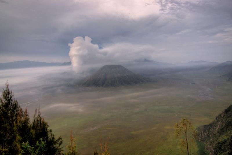 Enhanced shot of Mount Bromo from afar