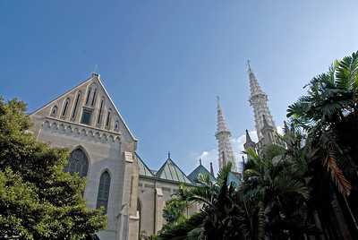 Shot of the facade of the National Cathedral in Jakarta