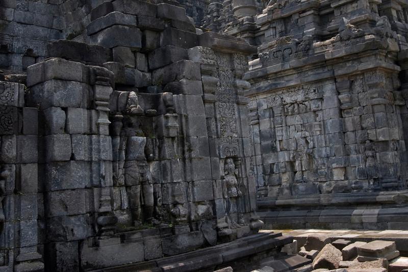 Wall art inside the Sewu Temple in Prambanan, Indonesia