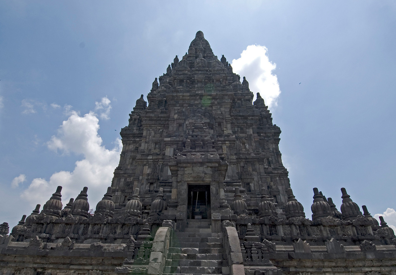 Looking up the front stairway to the entrance of Bodobudur temple in Java, Indonesia