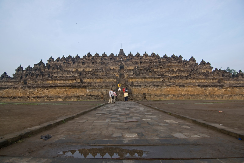 Breathtaking front view of Borobudur temple in Java, Indonesia; Buddhist temple