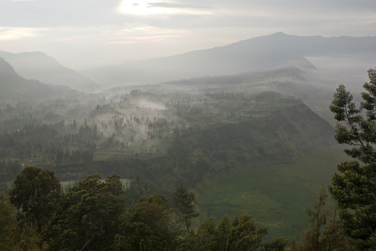 Foggy view of the village near Mount Bromo in Java, Indonesia