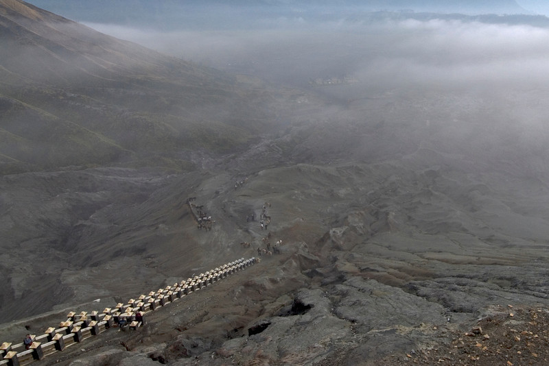 Overhead shot of the stairs and crater of Mount Bromo in Indonesia