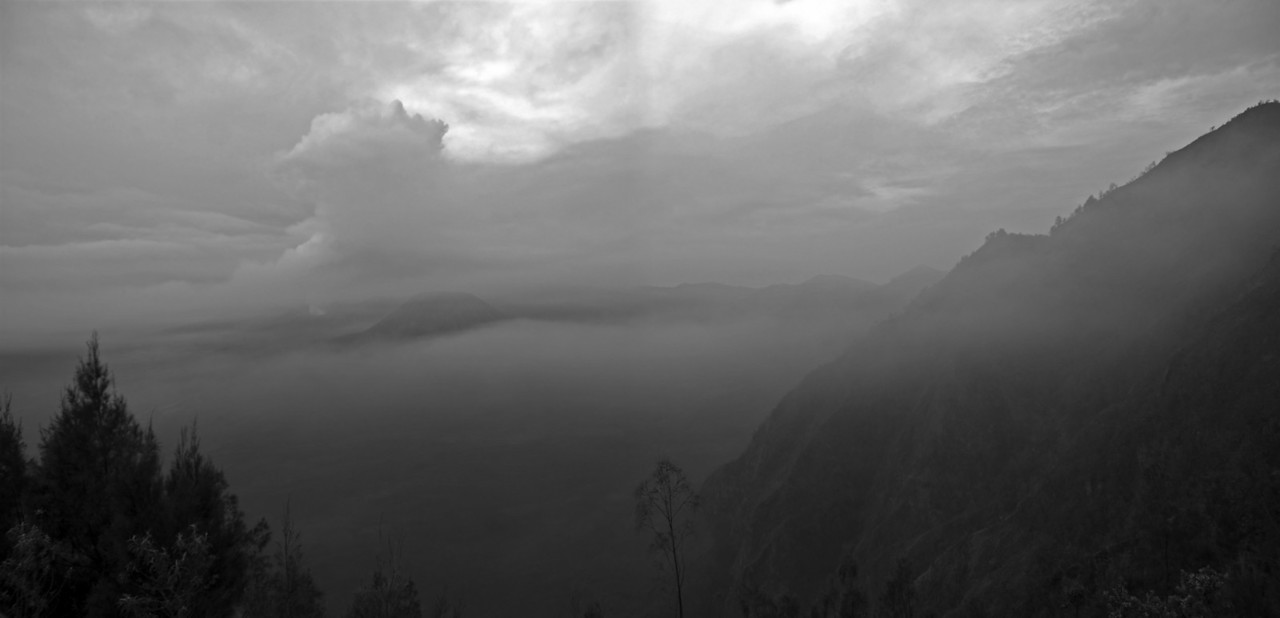Panoramic shot of the sunrise at Mount Bromo