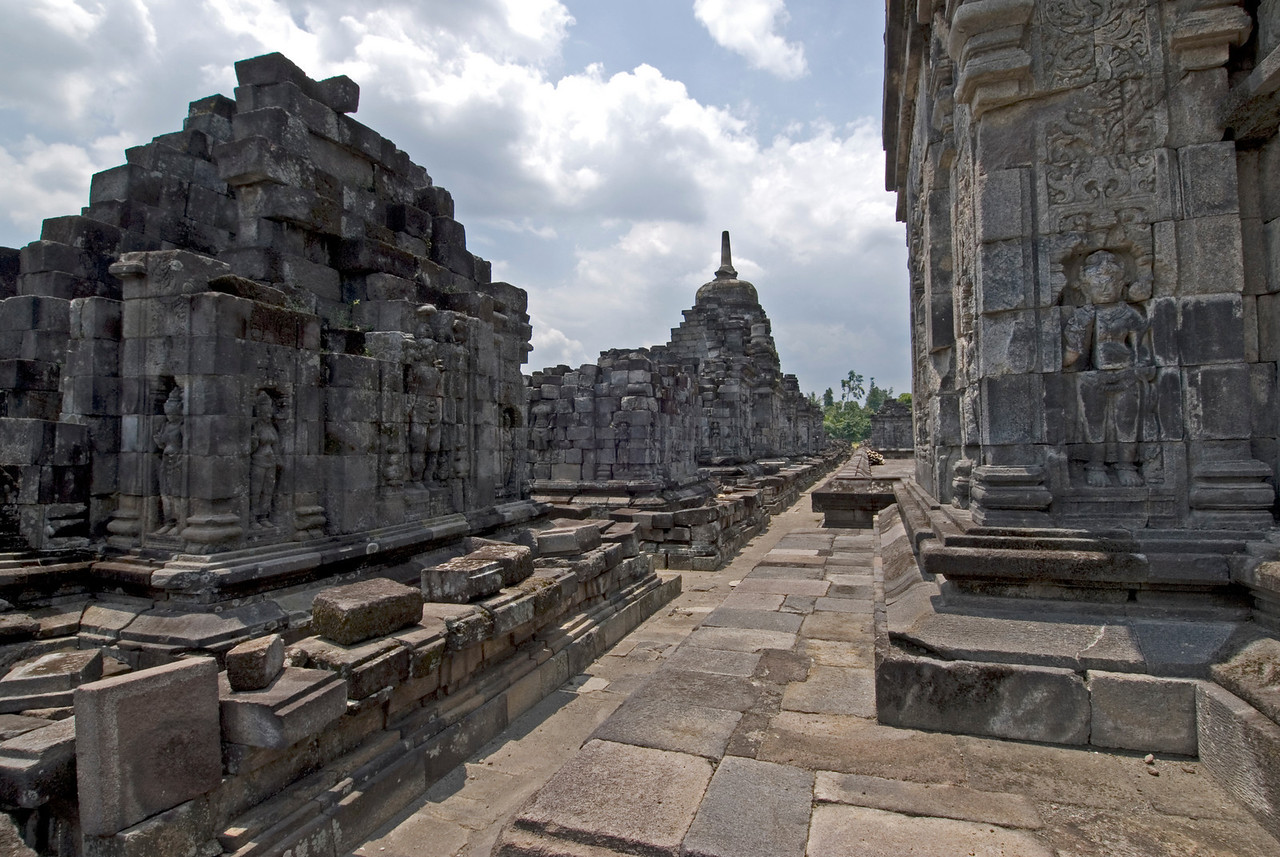 Wall carvings inside the ruins of Prambanan in Java, Indonesia