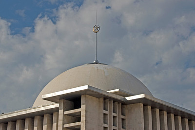 Islam symbol atop the dome at the National Mosque in Jakarta, Indonesia