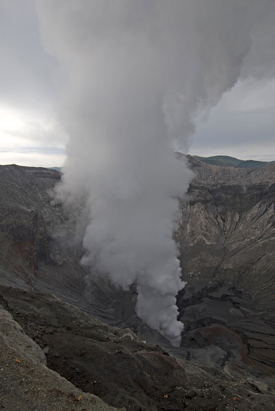 Steam cloud coming out of Mount Bromo in Java, Indonesia
