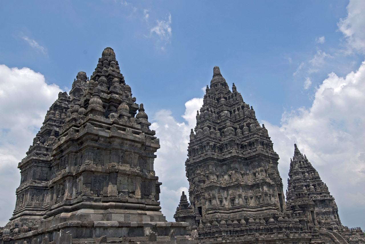 Giant towers atop the ruins of Prambanan in Java, Indonesia