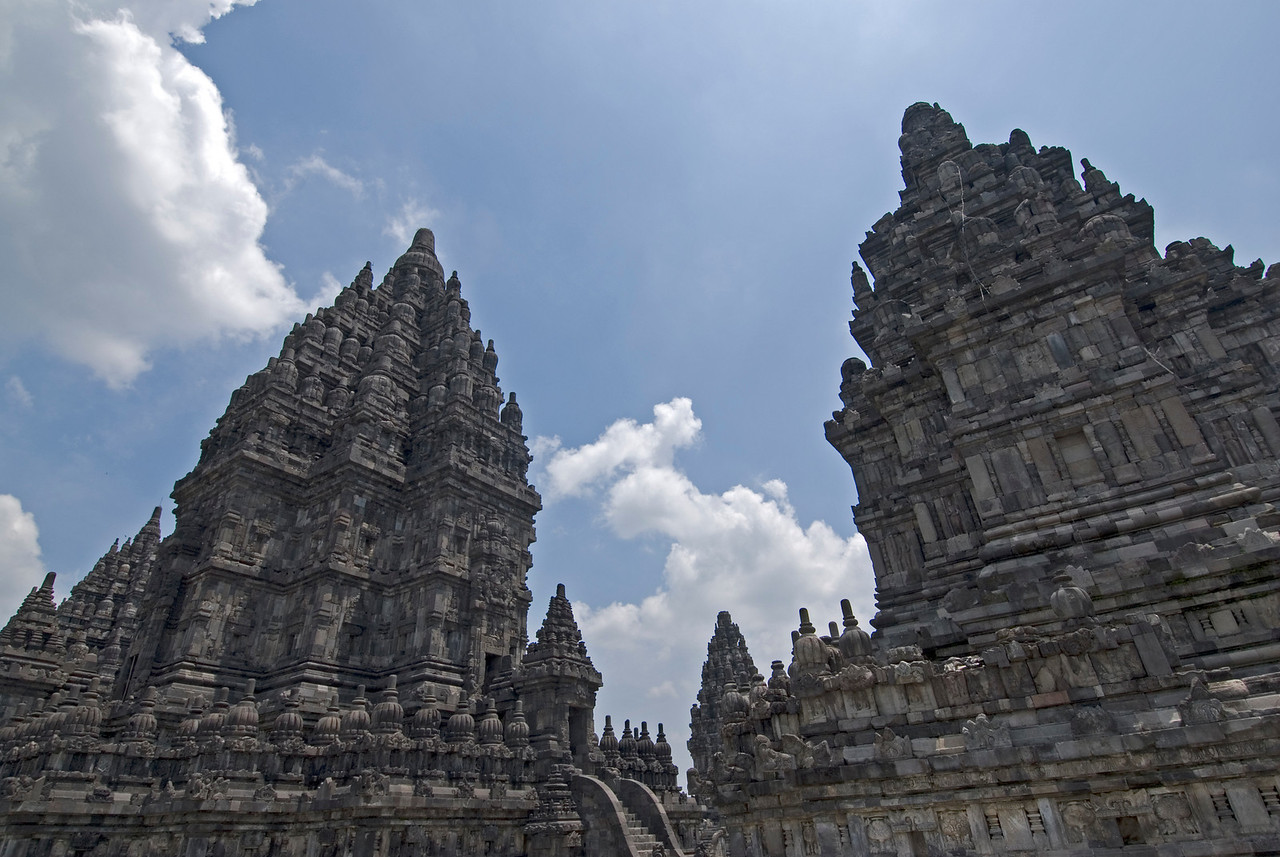 Two towers of Prambanan at Java, Indonesia