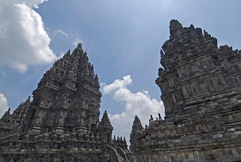 Two towers of Prambanan at Java, Indonesia